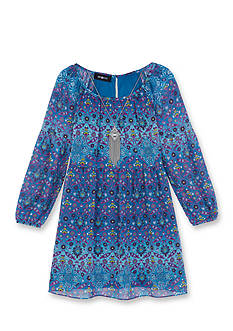 Amy Byer Long Sleeve Print Babydoll Dress Girls 7-16