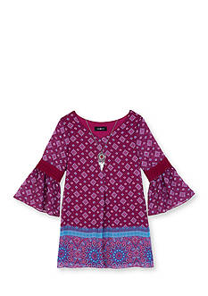 Amy Byer Bell Sleeve Border Dress Girls 7-16