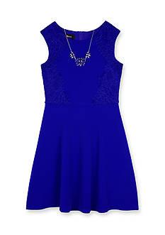 Amy Byer Lace Trim Skater Dress Girls 7-16