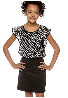 Amy Byer Zebra Angel Sleeve Dress Girls 7-16