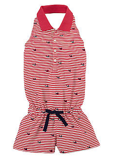 Ralph Lauren Childrenswear Striped Whale Embroidered Romper Girls 4-6X