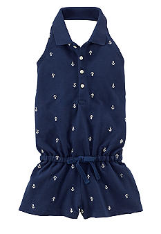 Ralph Lauren Childrenswear Nautical Embroidered Mesh Romper Girls 4-6X