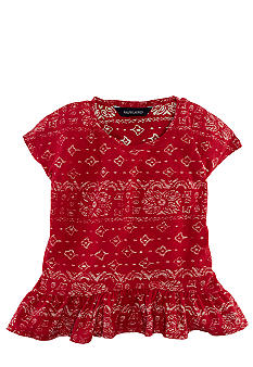 Ralph Lauren Childrenswear Slouchy Bandanna Tee Girls 4-6X