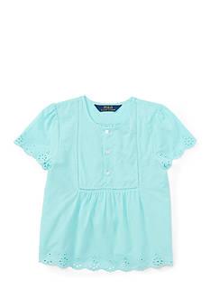 Ralph Lauren Childrenswear Cotton Batiste Eyelet Hem Top Girls 4-6x