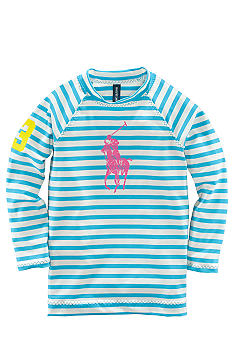 Ralph Lauren Childrenswear Striped Rash Guard Girls 7-16