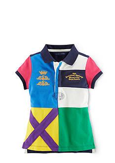 Ralph Lauren Childrenswear Color Blocked Crown & Swan Rugby Shirt Girls 7-16