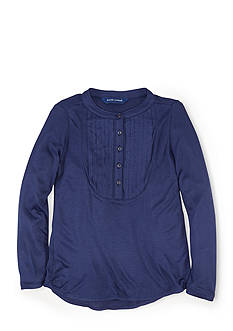 Ralph Lauren Childrenswear Pleated Bib Long Sleeve Top Girls 7-16
