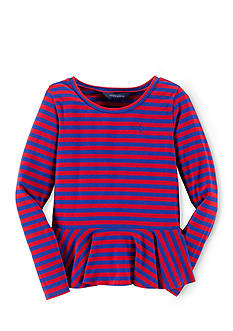 Ralph Lauren Childrenswear Striped Peplum Shirt Girls 7-16