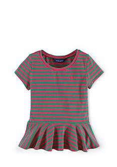 Ralph Lauren Childrenswear Striped Peplum Top Girls 7-16