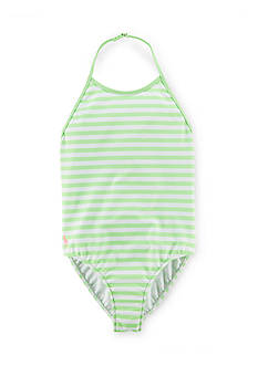 Ralph Lauren Childrenswear Stripe Halter Swimsuit Girls 7-16