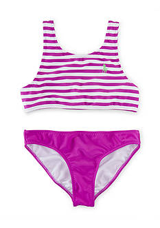 Ralph Lauren Childrenswear 2-Piece Stripe Swimsuit Girls 7-16