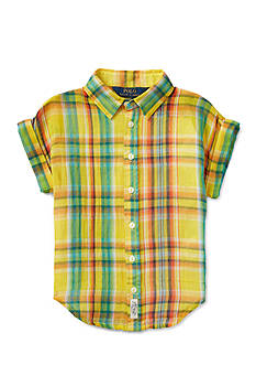 Ralph Lauren Childrenswear Crinkle Gauze Plaid Top Girls 7-16