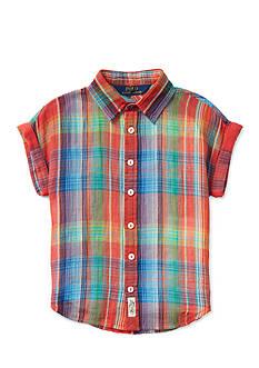 Ralph Lauren Childrenswear Crinkle Gauze Plaid Top Girls 7-16