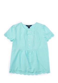 Ralph Lauren Childrenswear Bastiste Top Eyelet Girls 7-16