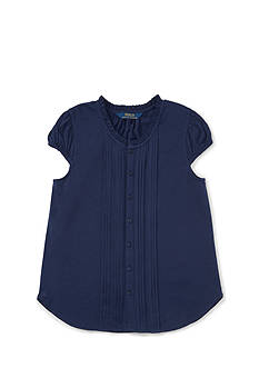Ralph Lauren Childrenswear Jersey Pintuck Shirt - Girls 7-16