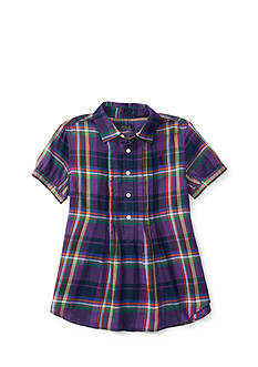 Ralph Lauren Childrenswear Featherweight Twill Plaid Shirt Girls 7-16