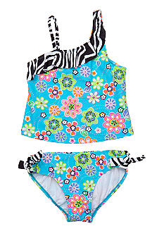 Beach Native 2-Piece Flowers Bathing Suit Girls 7-16