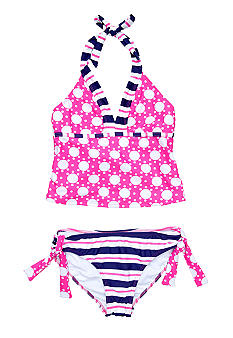 Beach Native 2-Piece Dot Tankini Girls 7-16