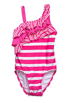 Beach Native Sky Stripe Swim Suit Girls 4-6X
