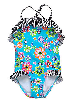 Beach Native May Flowers Swim Suit Girls 4-6X
