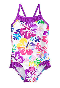 Beach Native Tropical Print One Piece Swimsuit Girls