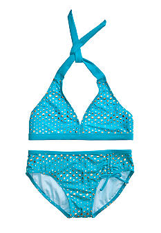 Beach Native Banded Foil Dots Bikini Girls 7-16