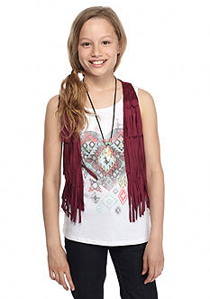 Beautees 2-Piece Tribal Heart Tank Top and Fringe Vest Girls 7-16
