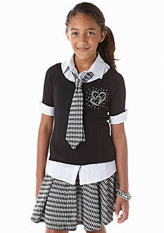 Beautees 2-Fer Collared Sweater and Houndstooth Tie Girls 7-16