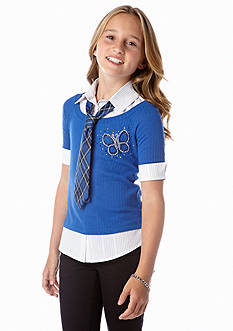 Beautees 2-Fer Collared Shirt and Sweater with Tie Girls 7-16