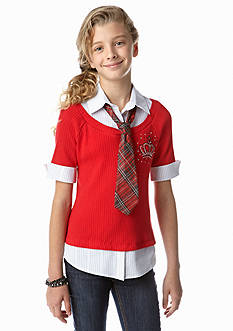 Beautees Crown Stud Top with Plaid Tie Girls 7-16
