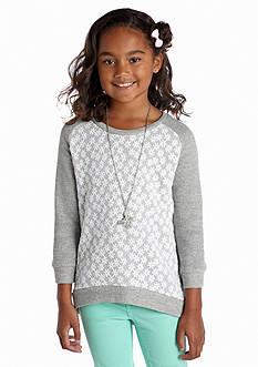 Beautees Flower Overlay Sweatshirt Girls 7-16