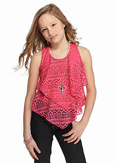 Beautees Layered Crochet Necklace Tank Girls 7-16