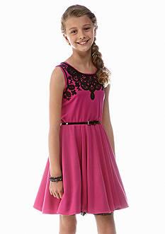 Beautees Embellished Neck Dress Girls 7-16
