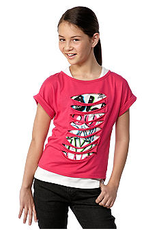 Beautees 2-in-1 Slashed Shirt Girls 7-16