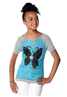 Beautees Raglan Lace Screen Top Girls 7-16