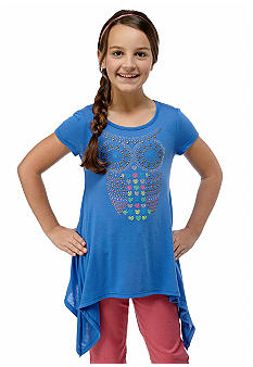 Beautees Owl Shark Bite Stud Shirt Girls 7-16
