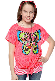 Beautees Butterfly Tie Front Top Girls 7-16