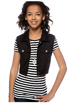 Beautees Stripe 2-fer Vest and Top Set Girls 7-16
