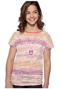 Beautees Stripe Cross Back Necklace Shirt Girls 7-16