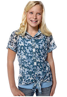 Beautees Camo Tie Front Shirt Girls 7-16
