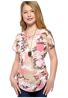 Beautees Camo Owl Necklace Tee Girls 7-16