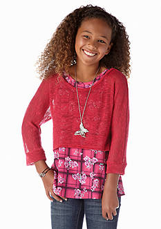 Beautees 2-Fer Plaid Chiffon Popover Top Girls 7-16