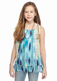Beautees 2-Piece Printed Tank Top and Crochet Vest Girls 7-16
