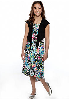 Beautees Zebra Floral Maxi Dress Girls 7-16