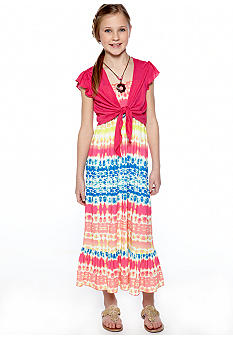 Tie Dye Stripe Dress Girls 7-16
