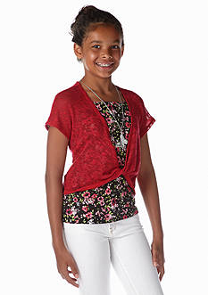 Beautees Floral Tank and Twist Cardigan Girls 7-16