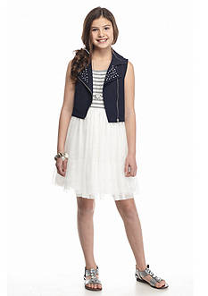 Beautees 2-Piece Knit Mesh Dress and Jeweled Moto Jacket Set Girls 7-16
