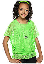 Beautees Crochet Peplum Top Girls 7-16
