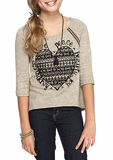 Beautees Heart and Embroidery Flocked Top with Necklace Girls 7-16