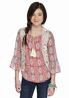 Beautees Printed Cold Shoulder Top and Crochet Vest Girls 7-16